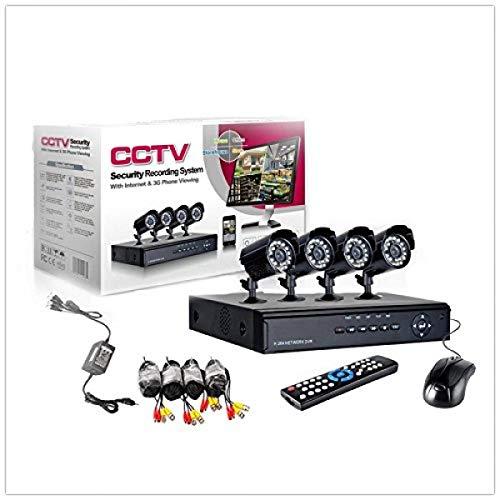 081 Store - KIT VIDEOSORVEGLIANZA h264 CCTV 4 CANALI TELECAMERA INFRAROSSI+DVR+ALIMENTATORE