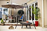 Black steel tripod Adjustable grill height for accurate cooking Black high temperature paint finish Fits many La Hacienda firepits Ideal centerpiece for patios and larger gardens