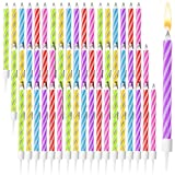 Magic Relighting Birthday Cake Candles with Holders (144 Pack)