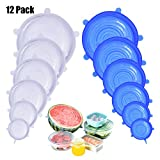 DigHealth Silicone Stretch Lids, 12 Pack of Silicone Food Covers, BPA Free and Expandable to Fit Various Shape of Containers, Dishes, Bowls, Safe in Dishwasher, Microwave and Freezer