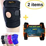BodyMoves Kid's Knee Brace Support Plus Hot and Cold Ice Gel Pack for stabilizing Patella Meniscus Tear Ligament Injury Prevention (Sporty Black)