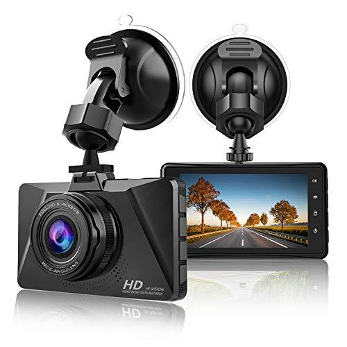 【2021 Nuova Versione】 CHORTAU Telecamera per Auto 1080P Full HD, Dashcam Schermo da 3 Pollici 170° Grandangolare con registrazione ad anello, Monitor di Parcheggio, Rilevamento Movimento, G-Sensor