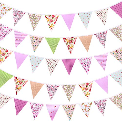 Whaline 39.5ft Fabric Bunting Banner Floral Vintage Reusable Cotton Triangle Flag Garland Decoration with 42pcs for Garden Wedding Baby Shower Birthday Parties