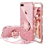 Cute iPhone 8 Plus Case, Cute iPhone 7 Plus Case, Glitter Luxury Diamond Rhinestone Bumper with Ring Grip Kickstand Protective Girly Pink iPhone 8 Plus/ 7 Plus Case for Women Girl - Rose Gold Pink