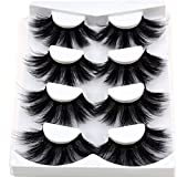 HBZGTLAD NEW 4 Pairs 3D Mink Hair False Eyelashes Criss-cross Wispy Cross Fluffy length 25-30mm Lashes Extension Handmade Eye Makeup Tools (MDR-5)