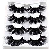 HBZGTLAD NEW 4 Pairs 3D Mink Hair False Eyelashes Criss-cross Wispy Cross Fluffy length 25-30mm Lashes Extension Handmade Eye Makeup Tools (MDR-5)