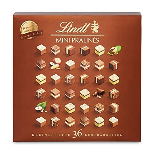 Lindt Mini Pralinés Schicht-Nougat   165g Pralinen-Schachtel  Feines Mandel-, Haselnuss- und Pistazien-Nougat   Ideales Pralinen-Geschenk