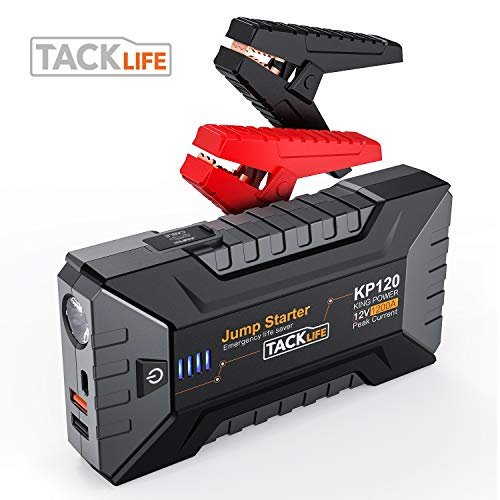 TACKLIFE 1200A Peak Car Jump Starter with USB Quick Charge 3.0 (Up to 8L Gas or 6L Diesel Engine), 12V Portable Power Pack Battery Booster Phone Charger Built-in LED Light