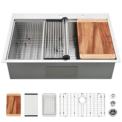 33 Drop In Stainless Steel Sink-VASOYO Kitchen Sink 33 x 22 Drop In Single Bowl Topmount Workstation Kitchen Sink...