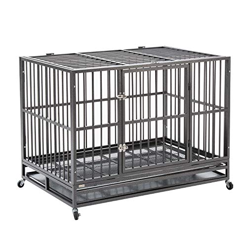 Sliverylake Dog Cage Crate Kennel - Heavy Duty Double Door Pet Cage w/Metal Tray Wheels Exercise Playpen (48', Sliver)
