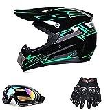 Motorcycle Helmet, Motocross ATV Helmet with Gloves, Glasses,for Best Present,2,S