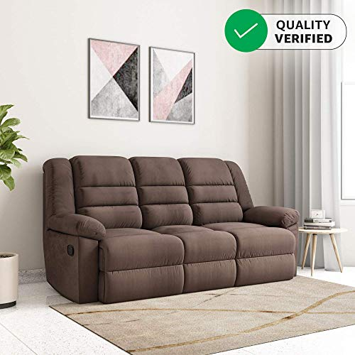 Amazon Brand - Solimo Musca Three Seater Fabric Recliner (Chocolate)