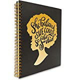 She Believed She Could So She Did Inspirational Black African American Women Afro Girl Inspirational Hardcover Spiral Notebook/Journal, Notes Diary Book Gift for Women, Friend, Sister, Daughter