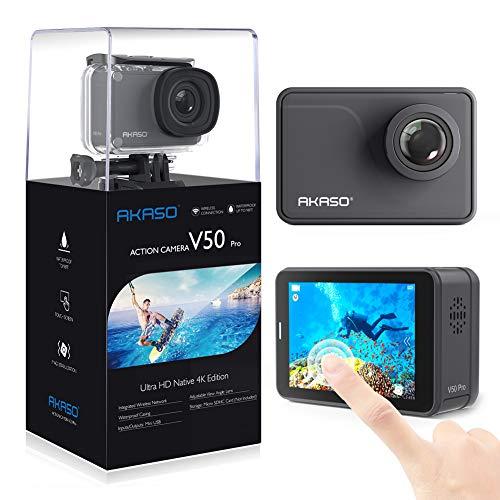 AKASO Action Cam Native 4K 20MP WiFi,Touch Screen,EIS Sommergibile 30m, Angolo Variabile Telecomando con Batterie 1100mAh x2(V50 PRO)