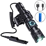Tactical LED Torch Flashlight with Picatinny Rail Mount, Super Bright 1200 Lumens, 300m Beam Distance, Premium Aluminium Alloy, Waterproof, Rust-Resistant, USB Chargeable