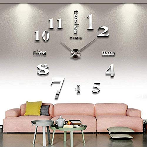 CoZroom Large Silver 3D Frameless Wall Clock Stickers DIY Wall...