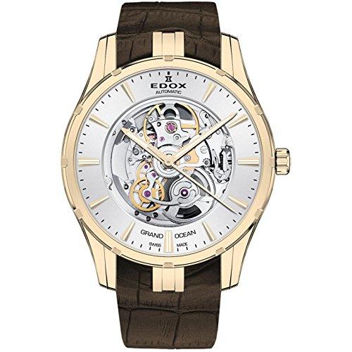 Edox Grand Ocean Herren-Armbanduhr 41mm Armband Leder Braun Gehäuse Edelstahl Automatik 85301 37J AID