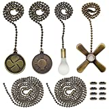 Iceyyyy Bronze Ceiling Fan Pull Chain Set Including Extra 39.4 inches Copper Beaded Ball Fan Pull Chain Extension and Ceiling Fan Chain Connector