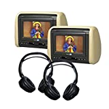 (2) 7' DVD Headrest Monitor Systems with (2) Headphones