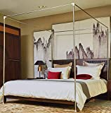 Mengersi Canopy Bed Frame Post Queen Size Stainless Steel Canopy Frame Four Corner Bed Mosquito Net Frame Bracket Fit for Metal Bed Wood Bed