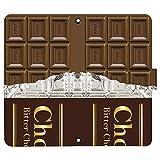 iPhone 12 ケース [デザイン:6.ビターチョコレート/マグネットハンドあり] 板チョコ チョコレ……