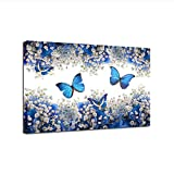 Bawangbieji Pintura de la Lona Arte de la Pared Cartel de impresin 1 Pieza/Piezas Mariposas Azules y Blancas Gypsophila Paniculata Imgenes Decoracin para el hogar