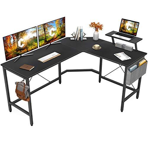 Cubiker Modern L-Shaped Computer Office Desk, Corner Gaming Desk with...