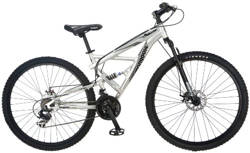 Mongoose Impasse Mens Mountain Bike, 18-inch Frame, 29-inch Wheels with Disc Brakes, Silver