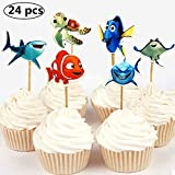 NF orange 24pc Finding Dory Marlin Nemo Destiny Candy Bar Cupcake Topper for Baby Shower Kids Birthday Party Supplies