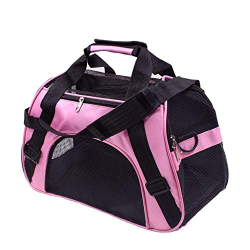 Bearhouse Transporttasche Hund Katze Hundetransporttasche Hundetragetasche Tragetasche 52 x 27 x 32 Zentimeter (Rosa)