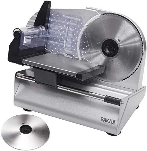 Bakaji Affettatrice Elettrica Professionale 160W con Doppia Lama Seghettata in Acciaio Inox 19cm...