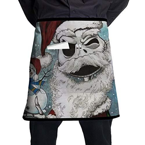 GALIRVC - Grembiule corto con tasche e tasca con scheletro in vita, unisex, per cameriere, cucina,...