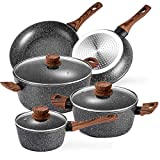 Prikoi Nonstick Cookware Set, Aluminum Kitchen Pots and Pans Set, Stovetop,Induction & Dishwasher Safe, 8 Piece, Black