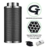 G-HYDRO 6 Inch Air Carbon Filter Upgraded Hexagonal Hole with 1200+ RC48 Activated Charcoal Prefilter Included Odor Control Scrubber for Grow Tent Indoor Plants Inline Fan Reversible Flange 515 CFM
