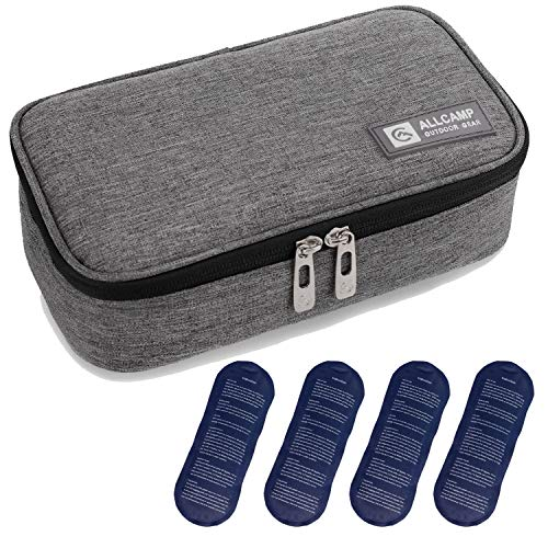 ALLCAMP Insulin Cooler Travel Case Diabetic Medication Cooler with 4 Ice Pack - Medical Cooler Bag Portable and Reusable Grey (Medium)