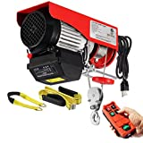 Partsam 440lbs Automatic Lift Electric Cable Hoist with Wireless Remote Control 120V Overhead Crane Garage Ceiling Pulley Winch w Towing Strap Sling, Electric Wire Rope Hoist, 38ft Lifting Height