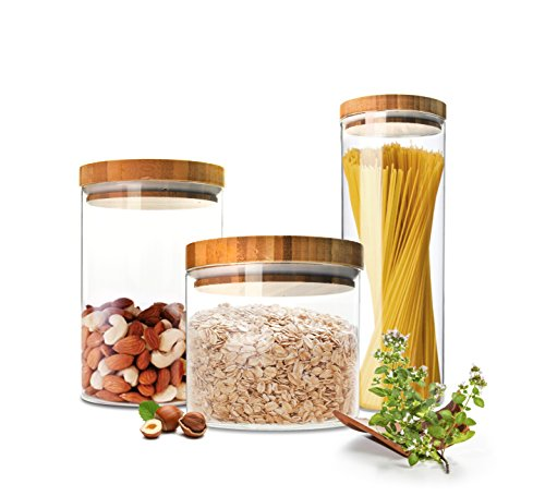 Sendez 3 Vorratsdosen Set mit Deckel Vorratsbehälter Vorratsdose Vorratsglas Vorratsgläser 2,1 Liter + 1,2 Liter + 0,6 Liter
