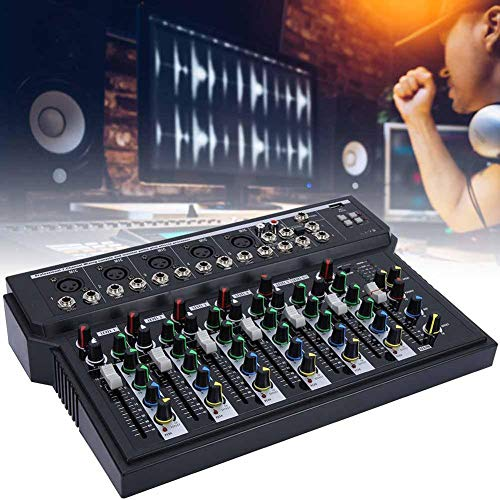 Pbzydu Mixer Audio Professionale Console per Scheda Audio, 7 canali Stereo DJ Streaming System Mixer Stereo da palco, Doppio Display a LED, modulo USB MP3(Unione Europ
