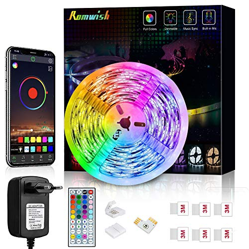 Striscia LED 5M, Romwish Luci LED Colorate RGB SMD 5050 Bluetooth Musica Sync LED Strip Controllo App e 44 Tasti Telecomando per Casa, Cucina, Festa, TV, Decorazione
