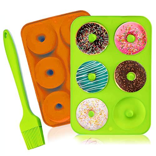 2 Pcs Moldes de Silicona para Donuts, 6 Cavidades, Molde para Pasteles Molde para Hornear Molde para Donut,per Magdalenas Gelatina Galletas,1pc Cepillo de silicona