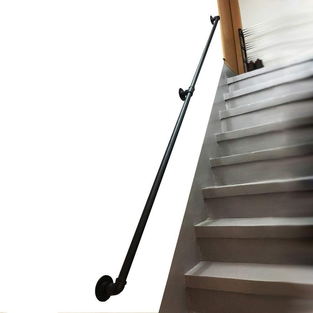 Amazon Com Stair Handrail Handrail For Stairs Indoor Outdoor | Outside Metal Stair Railing | Steel | Concrete | Steel Handrail | Porch | Outdoor Stair