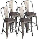 Yaheetech 24Inch Seat Height Tolix Style Dining Stools Chairs with Wood Seat/Top and High Backrest, Industrial Metal Counter Height Stool, Modern Kitchen Dining Bar Chairs Rustic, Gun