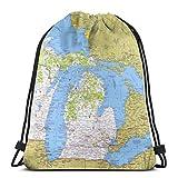 Hdadwy National Geographic Wisconsin Michigan y los Grandes Lagos Mapa Unisex Mochila con cordón Gimnasio Mochila de Baile