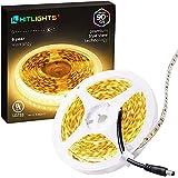 HitLights Warm White LED Light Strip, 16.4Ft Premium High Density LED Strip, 600 Bright 2835 LEDs, 3000K, 300 Lumens/Foot, UL-Listed, 12V DC Tape Light