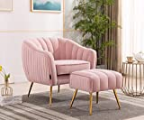 Artechworks Velvet Modern Tub Barrel Arm Chair Upholstered Tufted with Gold Metal Legs Accent Club Chair with Ottoman Footrest for Living Reading Room Bedroom, Pink