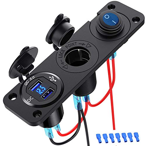 QC3.0 Presa USB per Auto Doppio USB Accendisigari Caricabatteria Presa per splitter Adattatore 12V impermeabile in alluminio per Veicoli Moto Auto Barca Marino