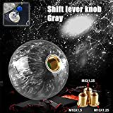 Ruien Round Ball Gear Shift Knob Marble Style with Adapters fit for Manual and Most Automatic 5-Speed 6-Speed Cars Gray