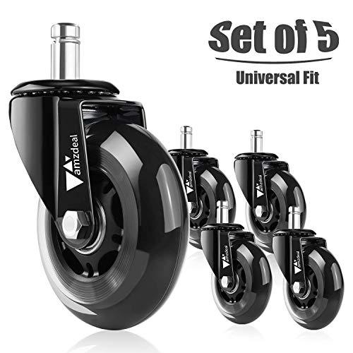 amzdeal rotelle per sedie di 5 Ruote per Pavimenti Set duri universali compatibili con Diversi Tipi...