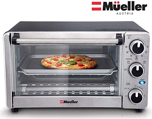 Toaster Oven 4 Slice, Multi-function Stainless Steel Finish with...