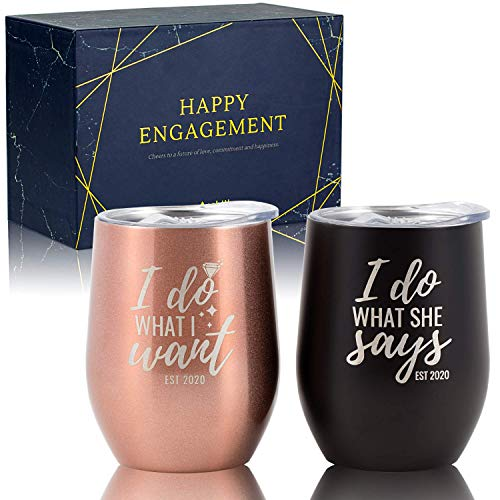 Onebttl Engagement Gifts for couples, Set of 2 Unique Wine...